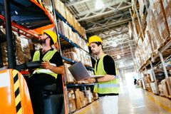 Trabalhadores do armazém que trabalham junto com o carregador da empilhadeira imagem de stock