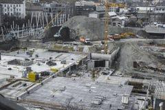 Trabalhadores do canteiro de obras - airshot - vista superior Imagem de Stock Royalty Free