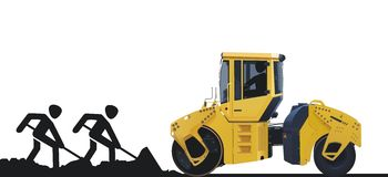 Trabalhadores e máquina da estrada Imagens de Stock Royalty Free