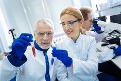 Trabalhadores médicos inspirados que guardam os tubos de ensaio Imagens de Stock