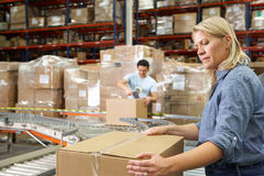 Trabalhadores no armazém de distribuição Fotografia de Stock