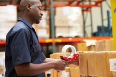 Trabalhadores no armazém que prepara bens para a expedição foto de stock