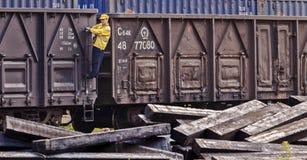 Trabalhadores no trem Imagem de Stock