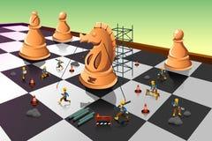 Trabalhadores que constroem um cavaleiro Chess no tabuleiro de xadrez ilustração stock
