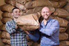 Trabalhadores que levam sacos do cimento Imagem de Stock Royalty Free