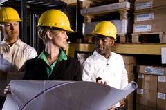 Trabalhadores que olham plantas de assoalho Fotos de Stock Royalty Free