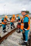 Trabalhadores Railway que reparam a maneira Imagens de Stock Royalty Free