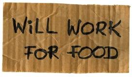 Trabalhará para o sinal do cartão do alimento Foto de Stock Royalty Free