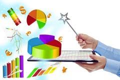 Avaliação da eficiência do trabalho com evices modernos imagem de stock royalty free