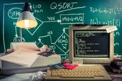 Trabalhe no algoritmo no laboratório do computador do vintage Fotografia de Stock Royalty Free