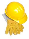 Trabalhe o capacete e os glowes do chapéu duro do capacete de segurança do equipamento fotografia de stock royalty free