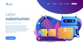 Trabalhe a página da aterrissagem do conceito da substituição ilustração stock
