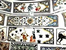 Trabalho artístico na parede do templo em Katas Raj, Paquistão ilustração stock