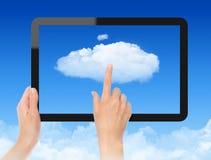 Trabalho com conceito de computação da nuvem Imagens de Stock