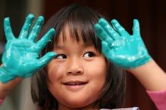 Trabalho da criança & da pintura Fotos de Stock Royalty Free