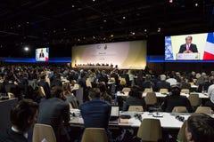 Trabalho da imprensa durante a conferência do UN sobre alterações climáticas imagens de stock