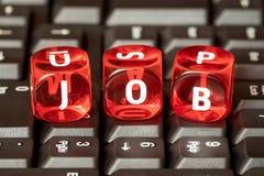 TRABALHO da palavra em cubos vermelhos do brinquedo Fotografia de Stock Royalty Free