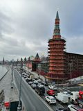 Trabalho da restauração das torres foto de stock