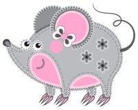 Trabalho de Applique sob a forma do rato de uma tela ilustração stock