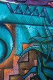 Trabalho de arte abstrato por artistas da comunidade na baía de Titahi imagem de stock royalty free