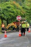 Trabalho de estrada no cozinheiro Islands de Rarotonga fotografia de stock royalty free