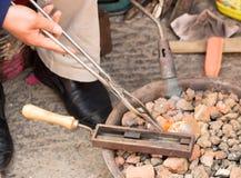 Trabalho de prata do burning Fotografia de Stock Royalty Free