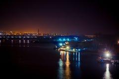 Trabalho do porto da noite Fotografia de Stock