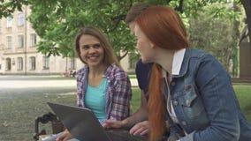 Trabalho dos estudantes no portátil no terreno video estoque