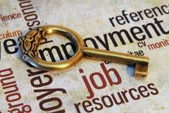 Trabalho e conceito chave Foto de Stock Royalty Free