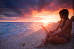 Trabalho em qualquer lugar no paraíso Foto de Stock Royalty Free