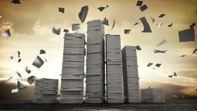Trabalho fatigante do negócio, pilha demais de papel Conceito do negócio no trabalho da sobrecarga filme