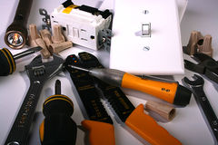 Trabalho feito com ferramentas do eletricista Fotos de Stock Royalty Free