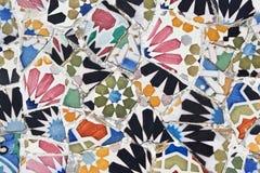 Trabalho original de Antoni Gaudi no parque Guell imagens de stock royalty free
