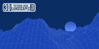 Trabalho poligonal da malha azul das montanhas do computador Imagens de Stock Royalty Free