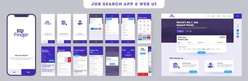 Trabalho que procura o jogo do ui do app pelo app ou pelo Web site móvel responsivo com disposição diferente da aplicação ilustração do vetor