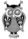 Trabalhos artísticos originais da coruja, desenho da mão da tinta dentro Fotos de Stock