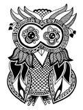 Trabalhos artísticos originais da coruja, desenho da mão da tinta dentro Imagens de Stock Royalty Free