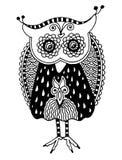 Trabalhos artísticos originais da coruja, desenho da mão da tinta dentro Imagens de Stock