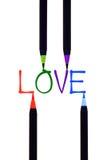 Trabalhos com pincel coloridos no amor Foto de Stock