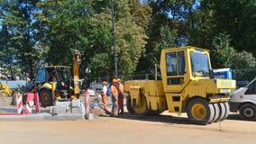 Trabalhos da construção de estradas Fotos de Stock