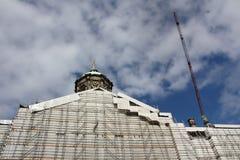 Trabalhos da restauração da catedral fotografia de stock
