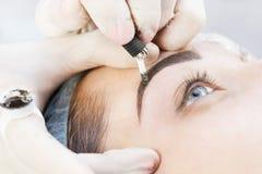 Trabalhos das sobrancelhas de Microblading foto de stock