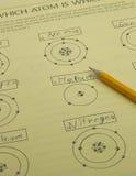 Trabalhos de casa da ciência do átomo Fotografia de Stock Royalty Free