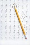 Trabalhos de casa da matemática Imagens de Stock Royalty Free