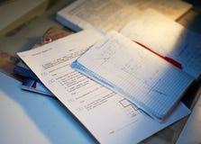 Trabalhos de casa da matemática Fotografia de Stock