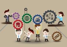 Trabalhos de equipa ao negócio bem sucedido, molde Fotos de Stock Royalty Free
