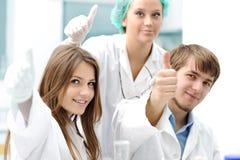 Trabalhos de equipa bem sucedidos dentro do laboratório Foto de Stock Royalty Free