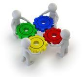 3d povos pequenos - engrenagens giradas Imagem de Stock