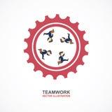 Trabalhos de equipa com homem de negócios e engrenagem Molde de Infographic Foto de Stock