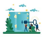 Trabalhos de equipa da cooperativa do escritório Encontre uma solução ao problema Vá à porta do cofre-forte com uma chave Ilustra ilustração stock